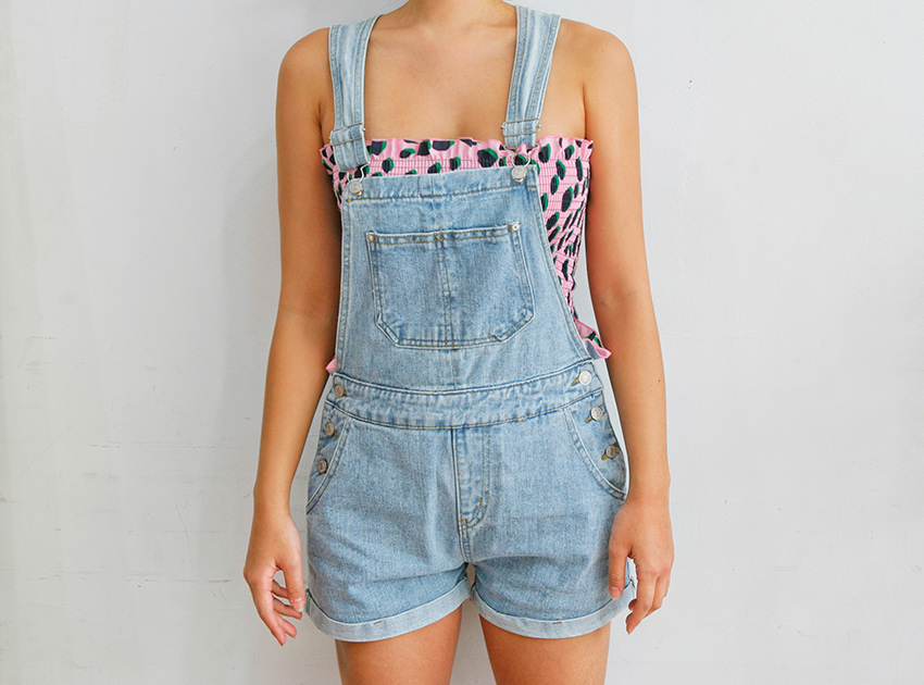 블랙피치Denim Short Overall