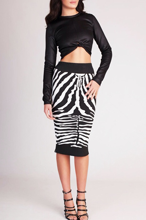블랙피치(SALE) Faux Leather Crop top &  Zebra Skirt set