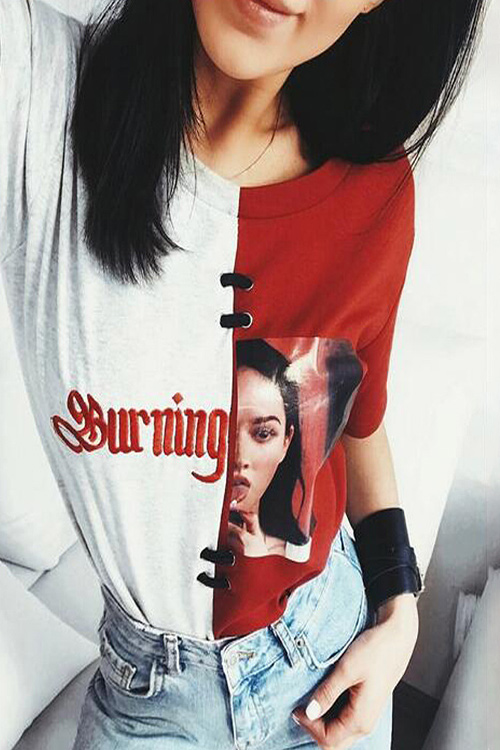 블랙피치Burnning Color Block Tee